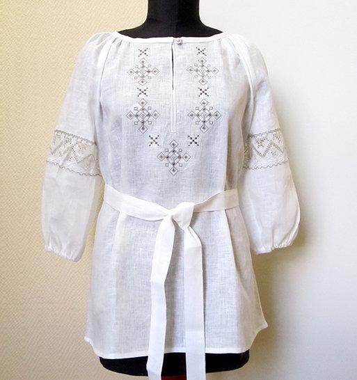 Туника сувенирная с кружевами, вышивкой, лен 100%, фото 1